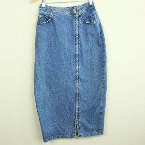 Vintage 90s Denim Pencil Skirt Midi Zipper Slit M